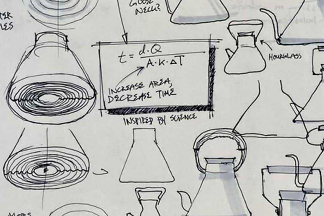 hand drawn sketches during r&d phase of product development